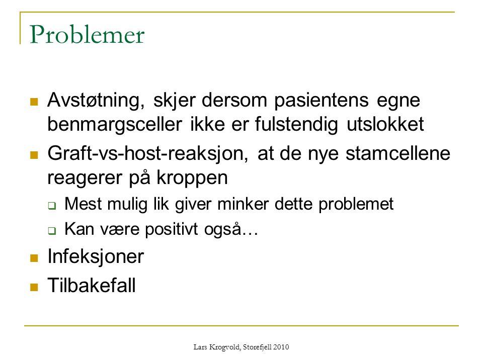 Lars Krogvold, Storefjell 2010 Problemer Avstøtning, skjer dersom pasientens egne benmargsceller ikke er fulstendig utslokket Graft-vs-host-reaksjon,