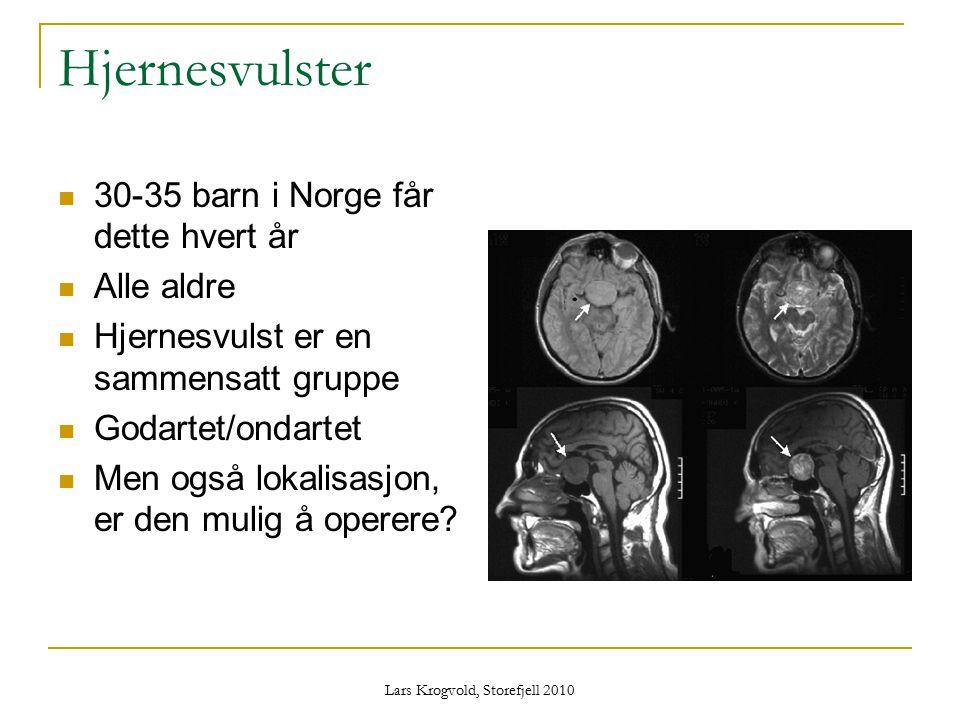 Lars Krogvold, Storefjell 2010 Hjernesvulster 30-35 barn i Norge får dette hvert år Alle aldre Hjernesvulst er en sammensatt gruppe Godartet/ondartet
