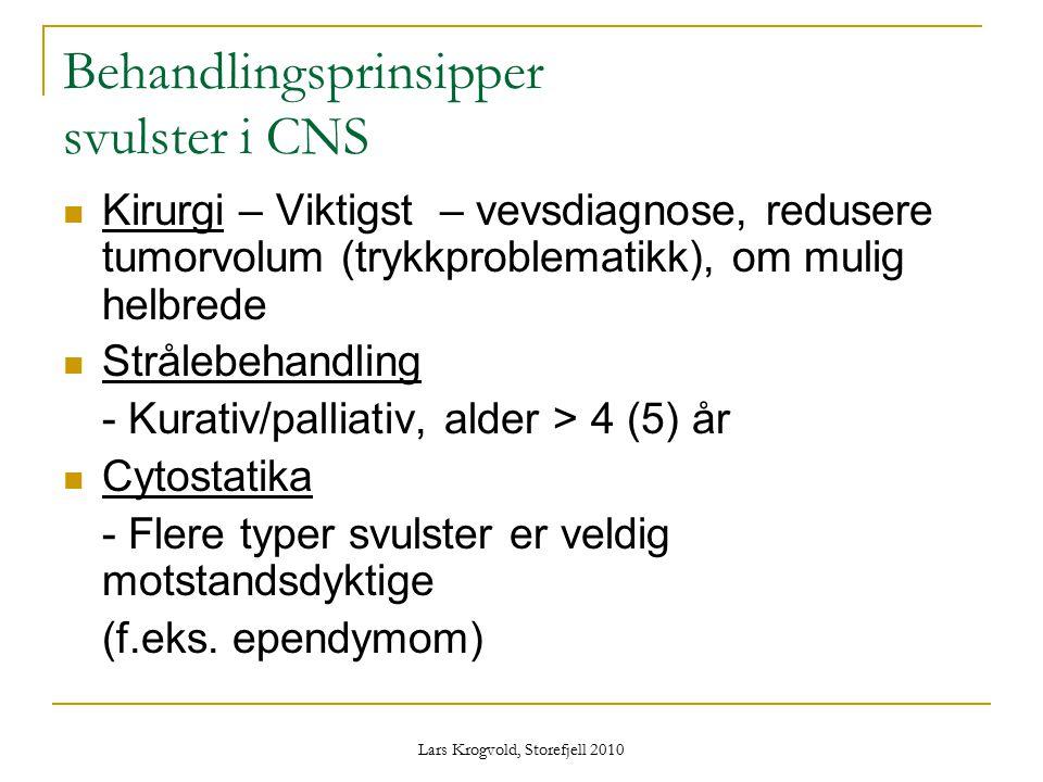 Lars Krogvold, Storefjell 2010 Behandlingsprinsipper svulster i CNS Kirurgi – Viktigst – vevsdiagnose, redusere tumorvolum (trykkproblematikk), om mul