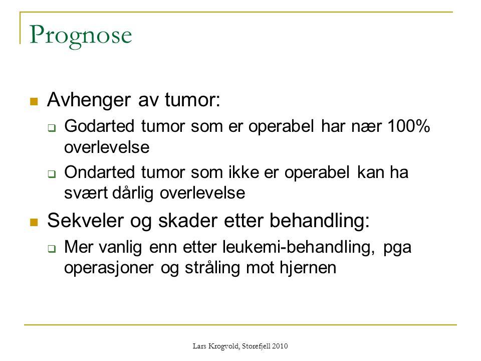 Lars Krogvold, Storefjell 2010 Prognose Avhenger av tumor:  Godarted tumor som er operabel har nær 100% overlevelse  Ondarted tumor som ikke er oper