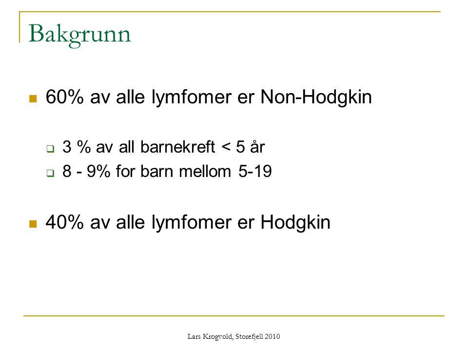 Lars Krogvold, Storefjell 2010 Bakgrunn 60% av alle lymfomer er Non-Hodgkin  3 % av all barnekreft < 5 år  8 - 9% for barn mellom 5-19 40% av alle l