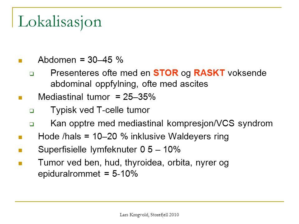 Lars Krogvold, Storefjell 2010 Lokalisasjon Abdomen = 30–45 %  Presenteres ofte med en STOR og RASKT voksende abdominal oppfylning, ofte med ascites