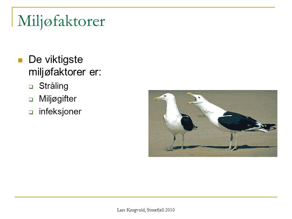 Lars Krogvold, Storefjell 2010 Miljøfaktorer De viktigste miljøfaktorer er:  Stråling  Miljøgifter  infeksjoner