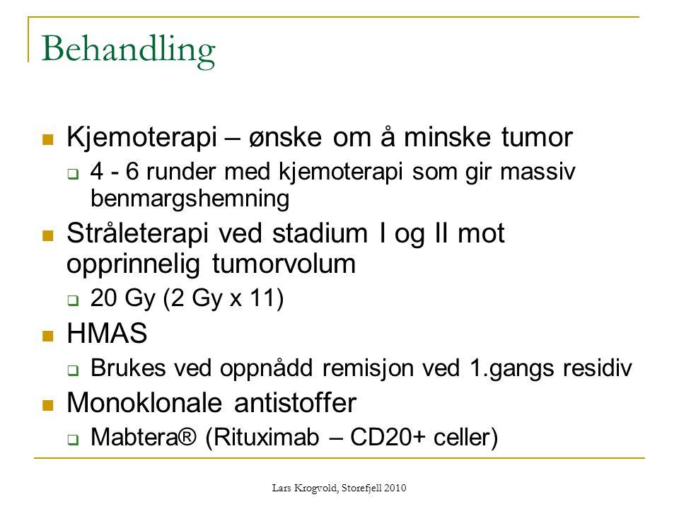 Lars Krogvold, Storefjell 2010 Behandling Kjemoterapi – ønske om å minske tumor  4 - 6 runder med kjemoterapi som gir massiv benmargshemning Strålete