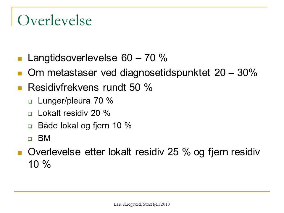 Overlevelse Langtidsoverlevelse 60 – 70 % Om metastaser ved diagnosetidspunktet 20 – 30% Residivfrekvens rundt 50 %  Lunger/pleura 70 %  Lokalt resi