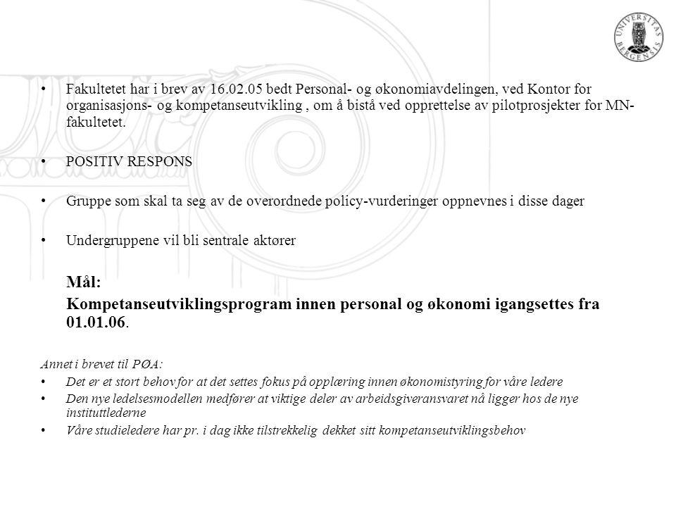 Fakultetet har i brev av 16.02.05 bedt Personal- og økonomiavdelingen, ved Kontor for organisasjons- og kompetanseutvikling, om å bistå ved opprettels