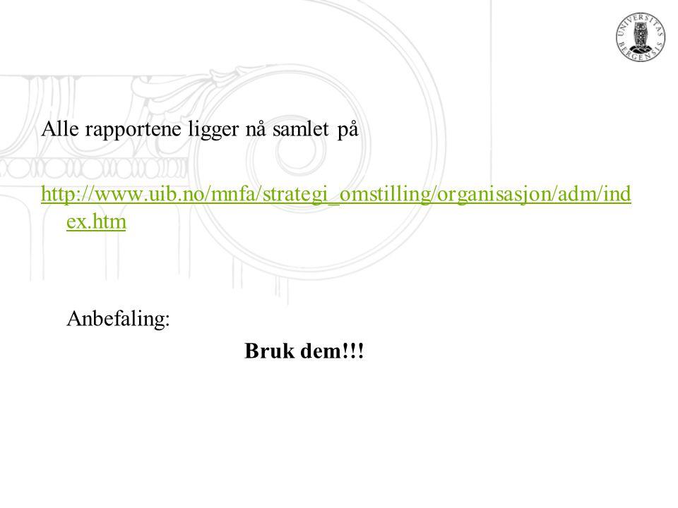 Alle rapportene ligger nå samlet på http://www.uib.no/mnfa/strategi_omstilling/organisasjon/adm/ind ex.htm Anbefaling: Bruk dem!!!