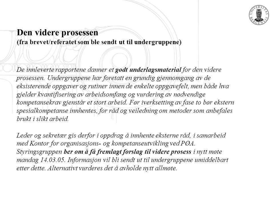 Den videre prosessen (fra brevet/referatet som ble sendt ut til undergruppene) De innleverte rapportene danner et godt underlagsmaterial for den vider