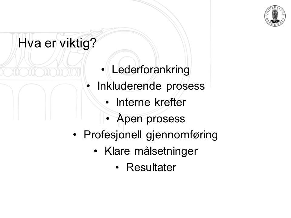 Hva er viktig? Lederforankring Inkluderende prosess Interne krefter Åpen prosess Profesjonell gjennomføring Klare målsetninger Resultater