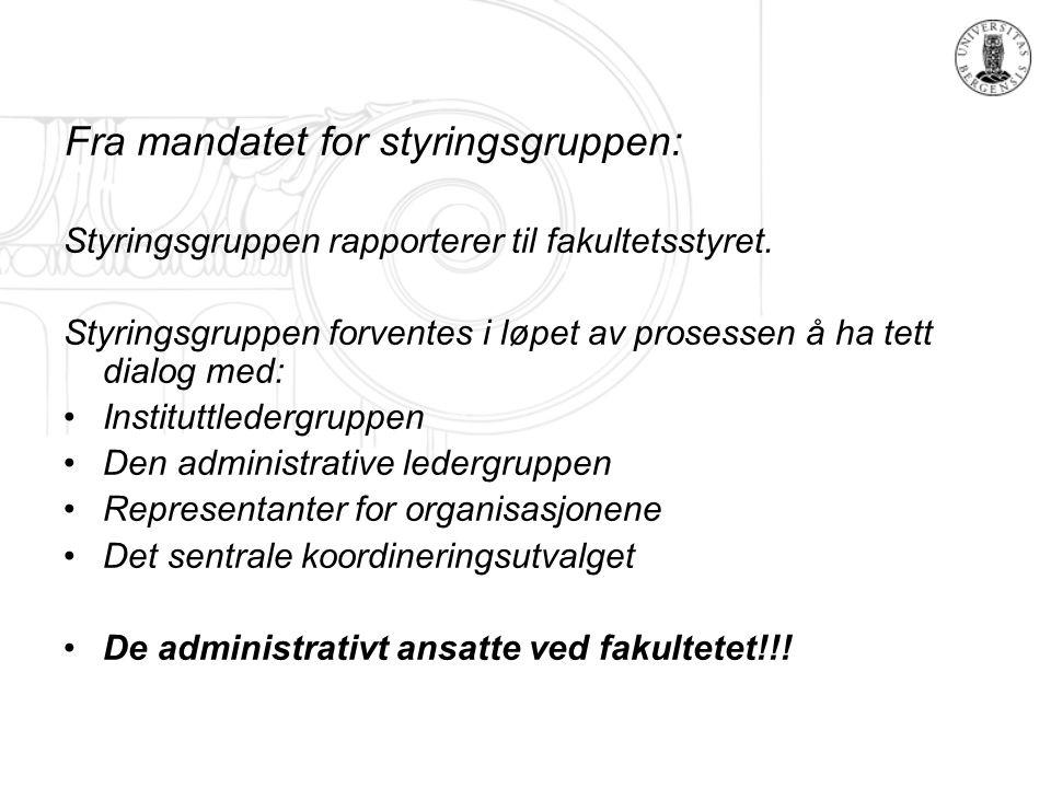 Fra mandatet for styringsgruppen: Styringsgruppen rapporterer til fakultetsstyret.