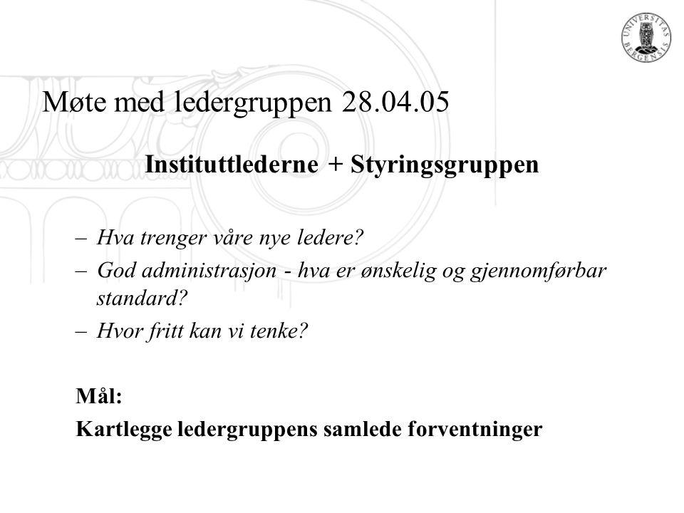 Møte med ledergruppen 28.04.05 Instituttlederne + Styringsgruppen –Hva trenger våre nye ledere? –God administrasjon - hva er ønskelig og gjennomførbar