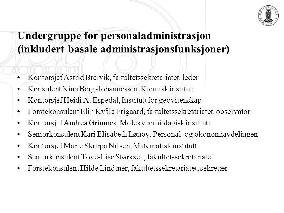 Undergruppe for personaladministrasjon (inkludert basale administrasjonsfunksjoner) Kontorsjef Astrid Breivik, fakultetssekretariatet, leder Konsulent Nina Berg-Johannessen, Kjemisk institutt Kontorsjef Heidi A.