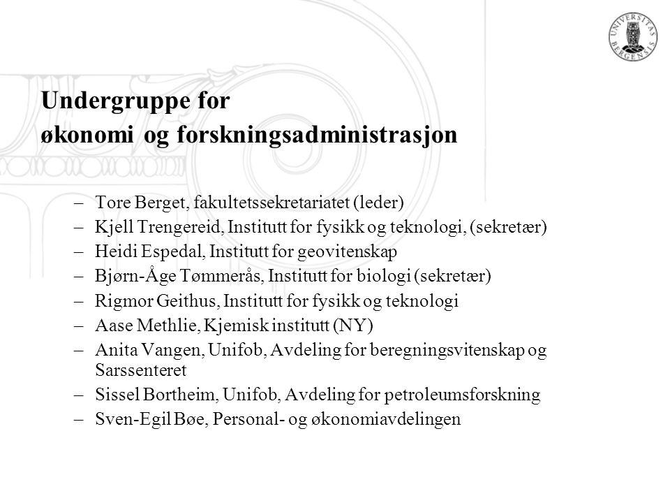 Undergruppe for økonomi og forskningsadministrasjon –Tore Berget, fakultetssekretariatet (leder) –Kjell Trengereid, Institutt for fysikk og teknologi,