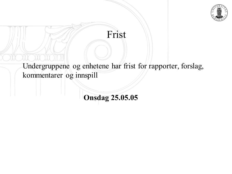Frist Undergruppene og enhetene har frist for rapporter, forslag, kommentarer og innspill Onsdag 25.05.05