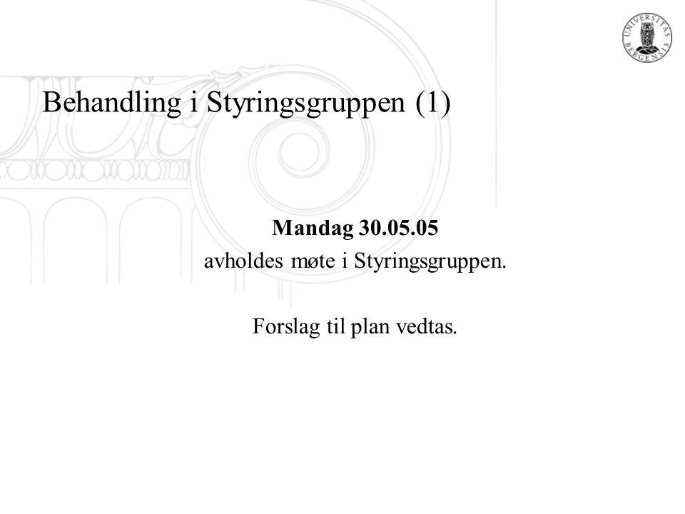 Behandling i Styringsgruppen (1) Mandag 30.05.05 avholdes møte i Styringsgruppen. Forslag til plan vedtas.
