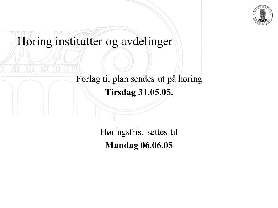 Høring institutter og avdelinger Forlag til plan sendes ut på høring Tirsdag 31.05.05. Høringsfrist settes til Mandag 06.06.05
