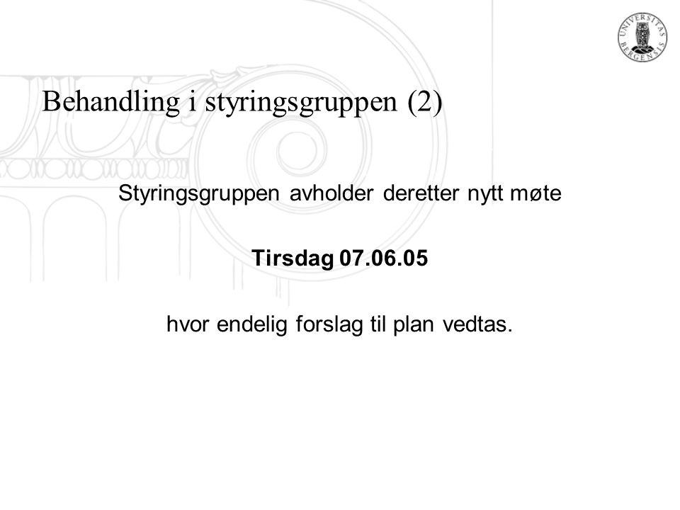 Behandling i styringsgruppen (2) Styringsgruppen avholder deretter nytt møte Tirsdag 07.06.05 hvor endelig forslag til plan vedtas.