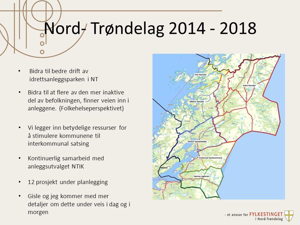 Nord- Trøndelag 2014 - 2018 Bidra til bedre drift av idrettsanleggsparken i NT Bidra til at flere av den mer inaktive del av befolkningen, finner veien inn i anleggene.
