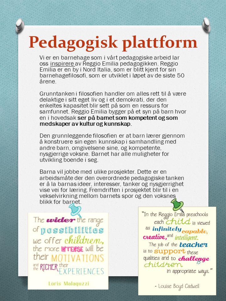 Pedagogisk plattform Vi er en barnehage som i vårt pedagogiske arbeid lar oss inspirere av Reggio Emilia pedagogikken. Reggio Emilia er en by i Nord I