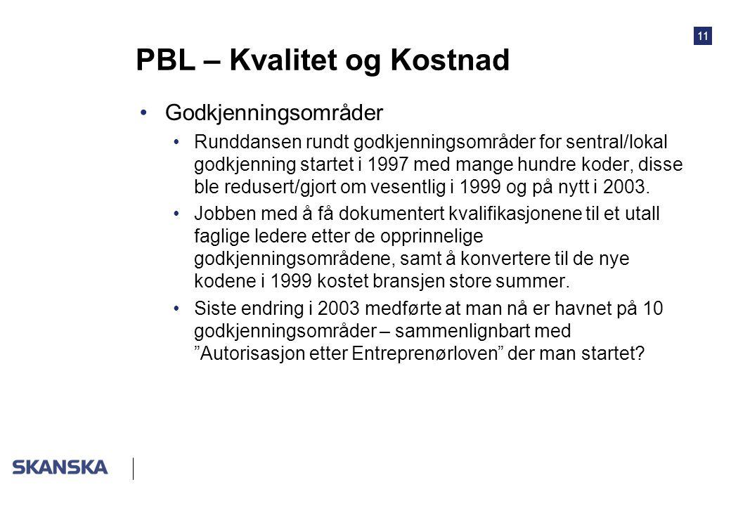 11 PBL – Kvalitet og Kostnad Godkjenningsområder Runddansen rundt godkjenningsområder for sentral/lokal godkjenning startet i 1997 med mange hundre koder, disse ble redusert/gjort om vesentlig i 1999 og på nytt i 2003.