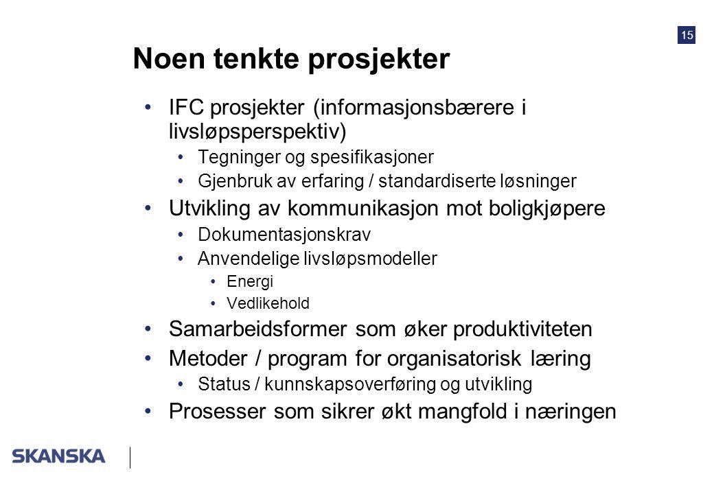 15 Noen tenkte prosjekter IFC prosjekter (informasjonsbærere i livsløpsperspektiv) Tegninger og spesifikasjoner Gjenbruk av erfaring / standardiserte