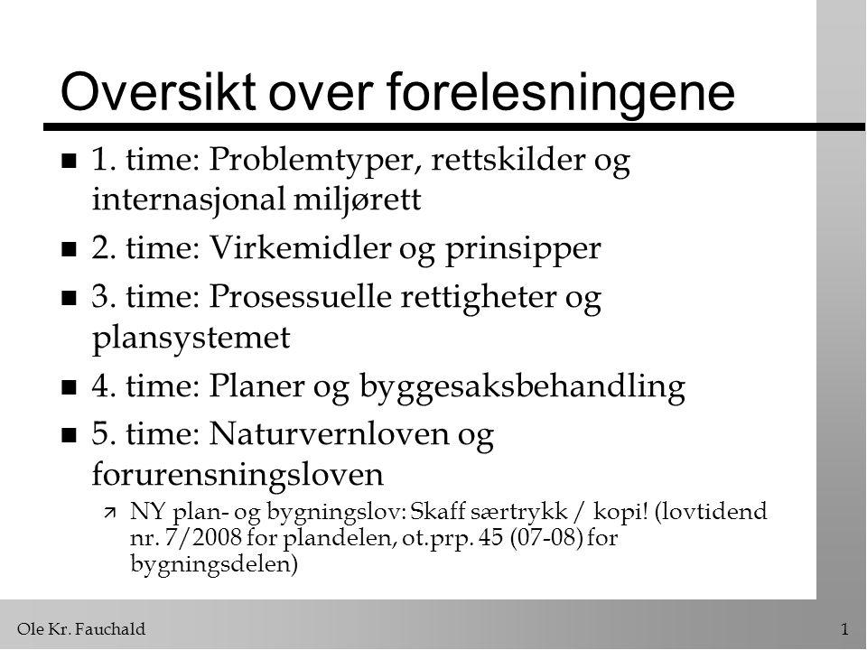 Ole Kr. Fauchald1 Oversikt over forelesningene n 1. time: Problemtyper, rettskilder og internasjonal miljørett n 2. time: Virkemidler og prinsipper n