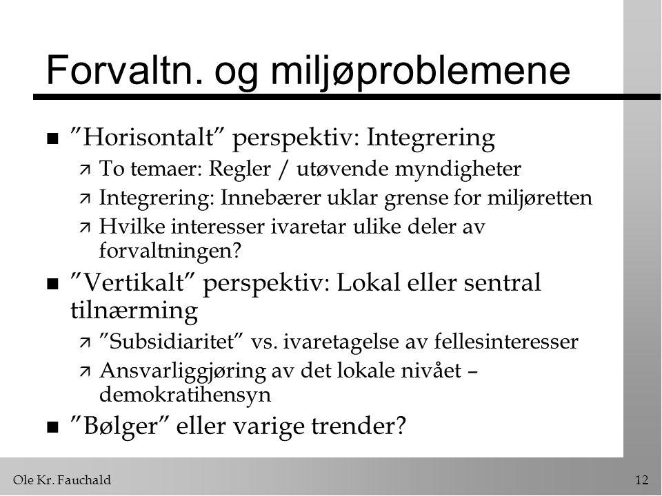 """Ole Kr. Fauchald12 Forvaltn. og miljøproblemene n """"Horisontalt"""" perspektiv: Integrering ä To temaer: Regler / utøvende myndigheter ä Integrering: Inne"""