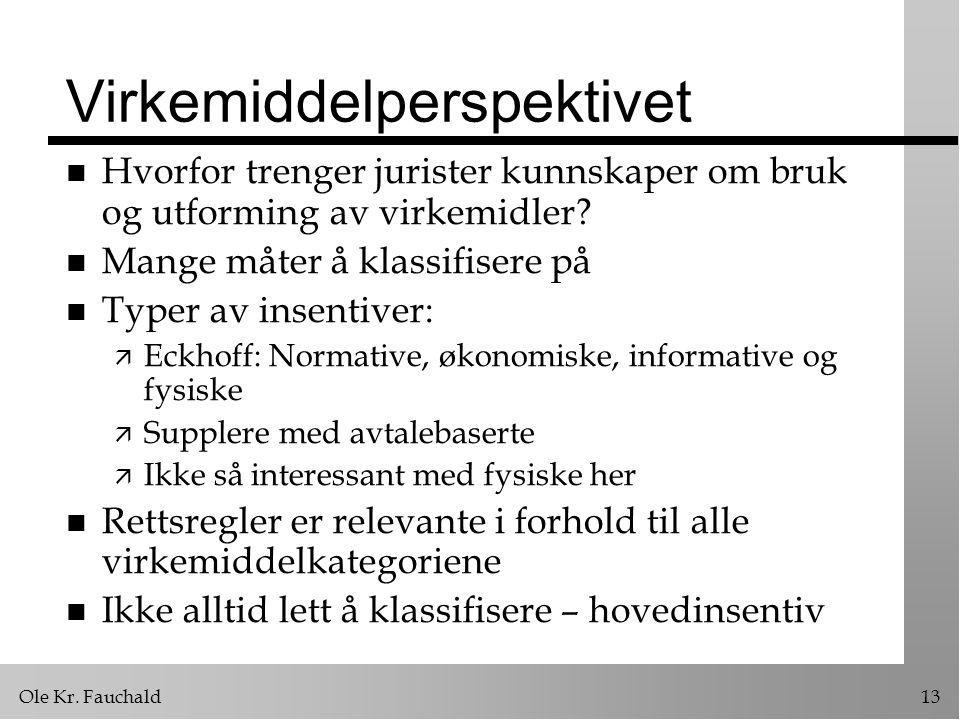 Ole Kr. Fauchald13 Virkemiddelperspektivet n Hvorfor trenger jurister kunnskaper om bruk og utforming av virkemidler? n Mange måter å klassifisere på