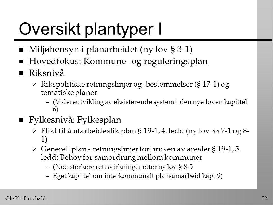 Ole Kr. Fauchald33 Oversikt plantyper I n Miljøhensyn i planarbeidet (ny lov § 3-1) n Hovedfokus: Kommune- og reguleringsplan n Riksnivå ä Rikspolitis