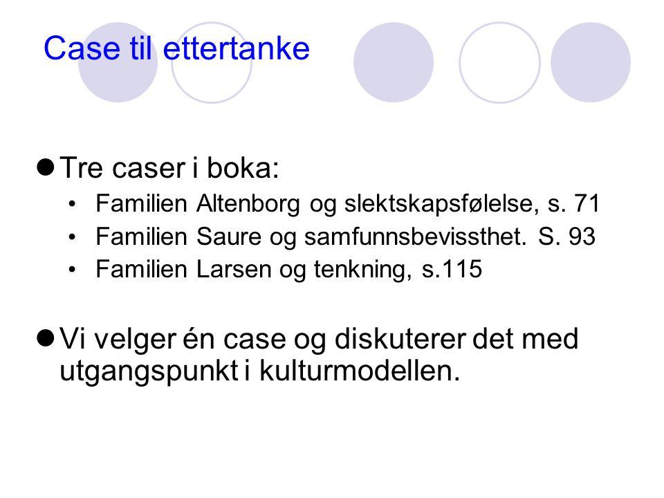 Case til ettertanke Tre caser i boka: Familien Altenborg og slektskapsfølelse, s.