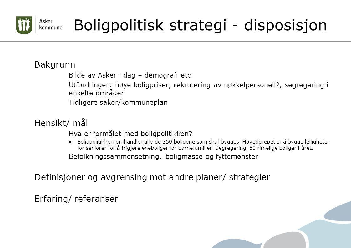 Boligpolitisk strategi - disposisjon Bakgrunn Bilde av Asker i dag – demografi etc Utfordringer: høye boligpriser, rekrutering av nøkkelpersonell?, se