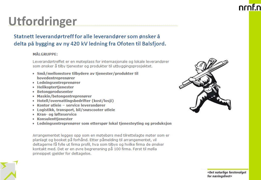 15 Utfordringer Statnett leverandørtreff for alle leverandører som ønsker å delta på bygging av ny 420 kV ledning fra Ofoten til Balsfjord.