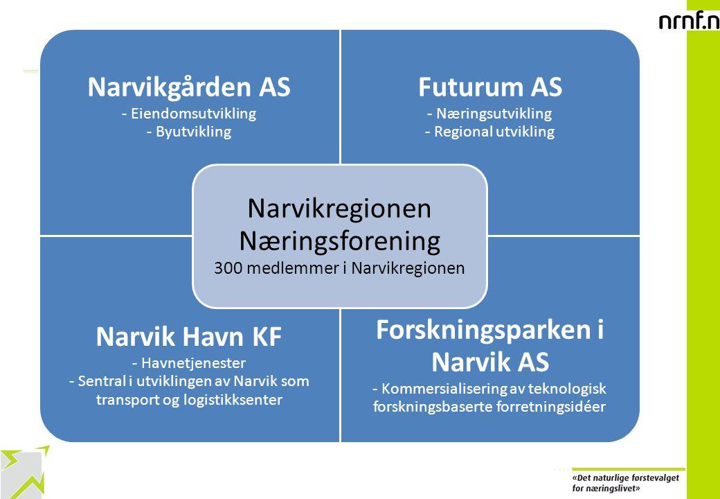 2 Narvikgården AS - Eiendomsutvikling - Byutvikling Futurum AS - Næringsutvikling - Regional utvikling Narvik Havn KF - Havnetjenester - Sentral i utviklingen av Narvik som transport og logistikksenter Forskningsparken i Narvik AS - Kommersialisering av teknologisk forskningsbaserte forretningsidéer Narvikregionen Næringsforening 300 medlemmer i Narvikregionen