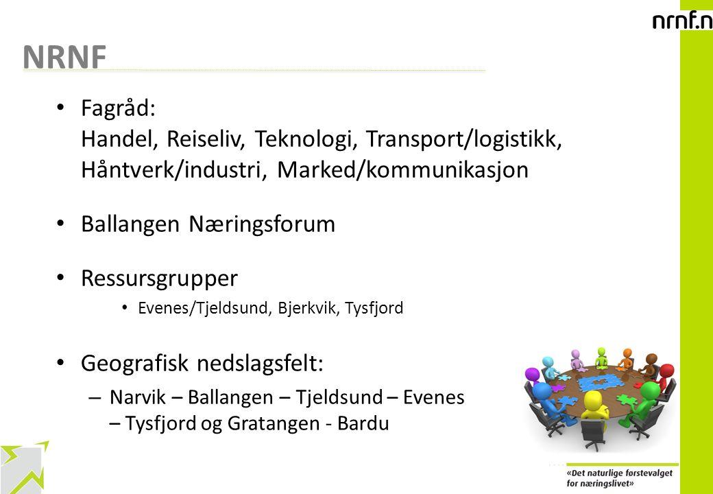 4 NRNF Fagråd: Handel, Reiseliv, Teknologi, Transport/logistikk, Håntverk/industri, Marked/kommunikasjon Ballangen Næringsforum Ressursgrupper Evenes/
