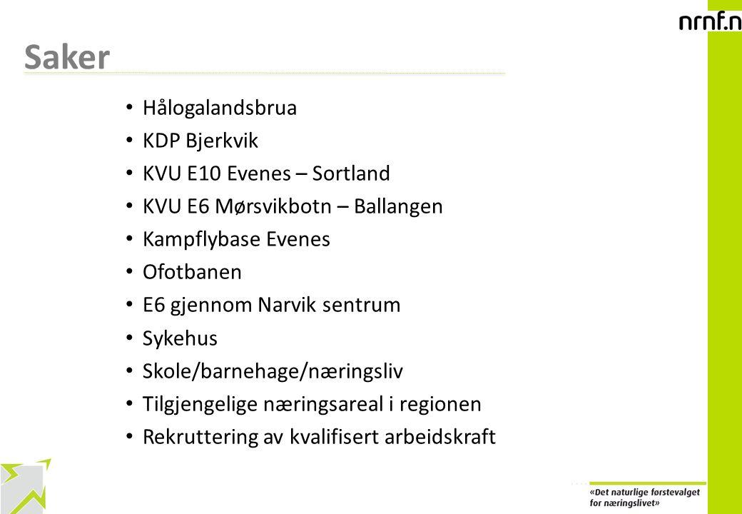 6 Saker Hålogalandsbrua KDP Bjerkvik KVU E10 Evenes – Sortland KVU E6 Mørsvikbotn – Ballangen Kampflybase Evenes Ofotbanen E6 gjennom Narvik sentrum S