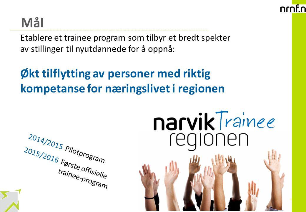 8 Mål Etablere et trainee program som tilbyr et bredt spekter av stillinger til nyutdannede for å oppnå: Økt tilflytting av personer med riktig kompet