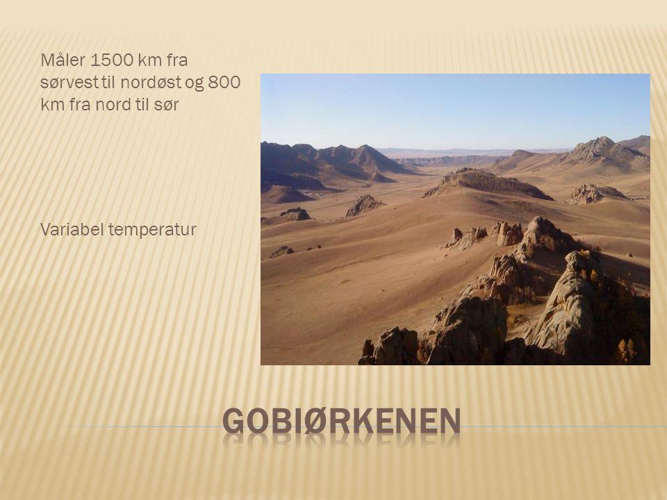 Måler 1500 km fra sørvest til nordøst og 800 km fra nord til sør Variabel temperatur
