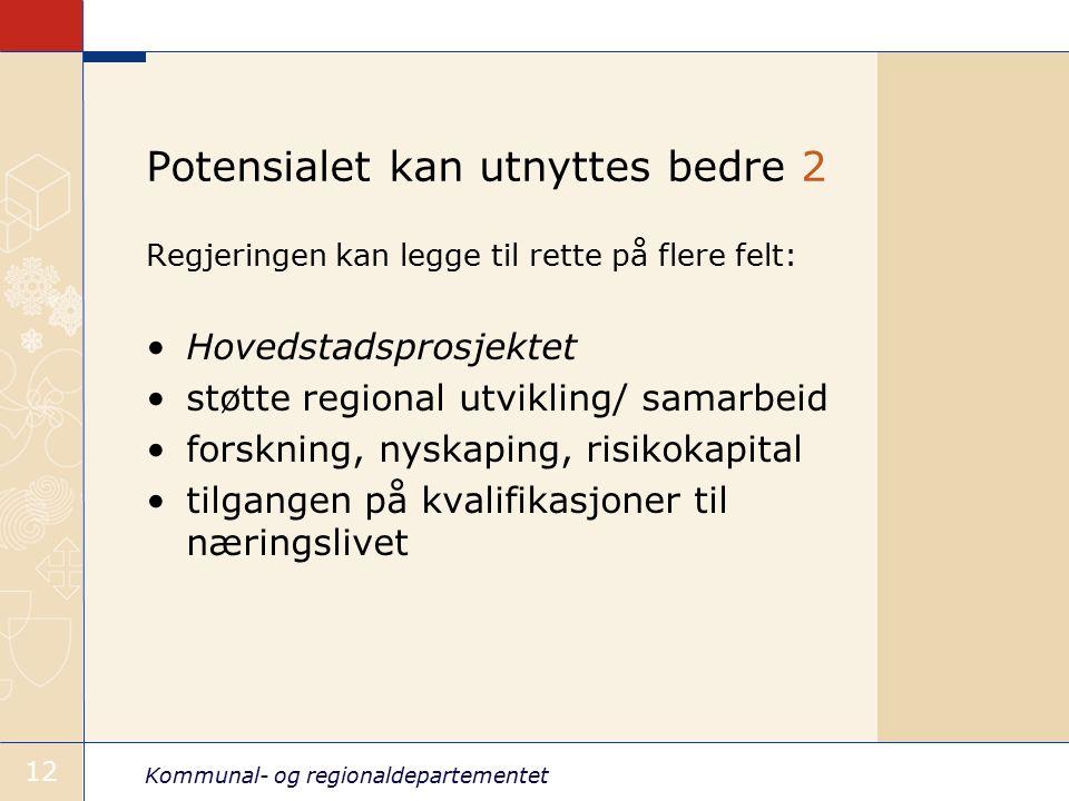 Kommunal- og regionaldepartementet 12 Potensialet kan utnyttes bedre 2 Regjeringen kan legge til rette på flere felt: Hovedstadsprosjektet støtte regional utvikling/ samarbeid forskning, nyskaping, risikokapital tilgangen på kvalifikasjoner til næringslivet
