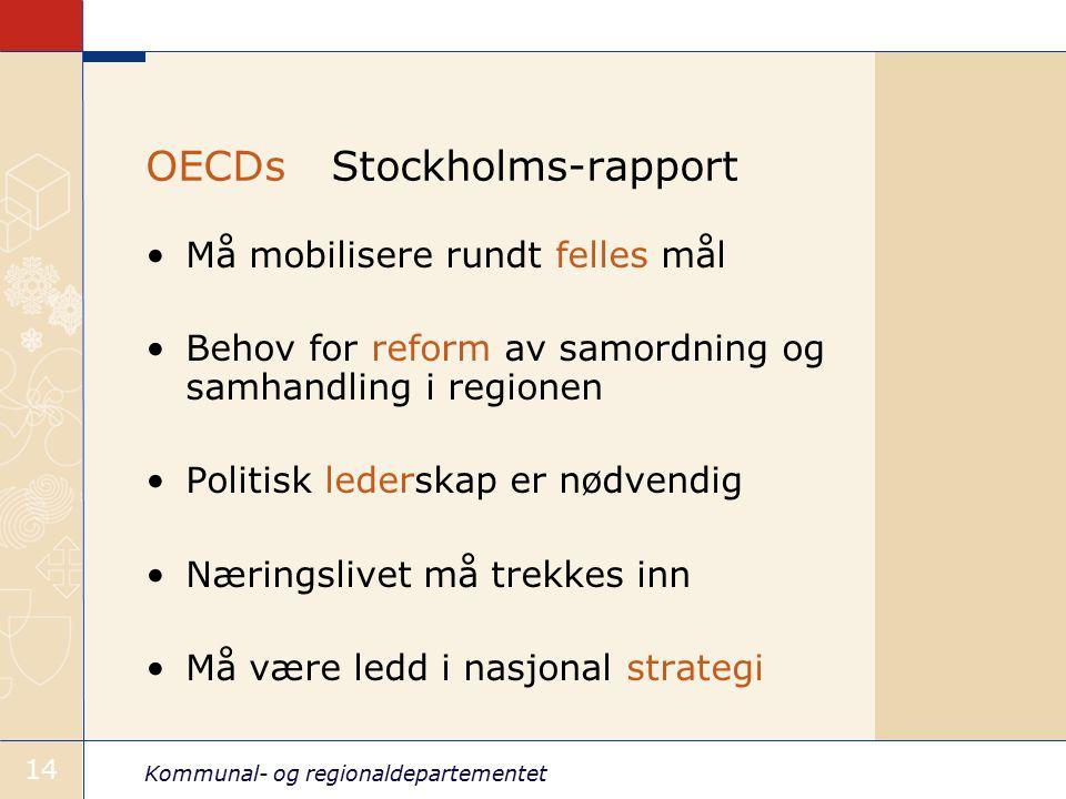 Kommunal- og regionaldepartementet 14 OECDs Stockholms-rapport Må mobilisere rundt felles mål Behov for reform av samordning og samhandling i regionen Politisk lederskap er nødvendig Næringslivet må trekkes inn Må være ledd i nasjonal strategi