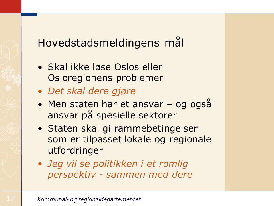 Kommunal- og regionaldepartementet 17 Hovedstadsmeldingens mål Skal ikke løse Oslos eller Osloregionens problemer Det skal dere gjøre Men staten har et ansvar – og også ansvar på spesielle sektorer Staten skal gi rammebetingelser som er tilpasset lokale og regionale utfordringer Jeg vil se politikken i et romlig perspektiv - sammen med dere