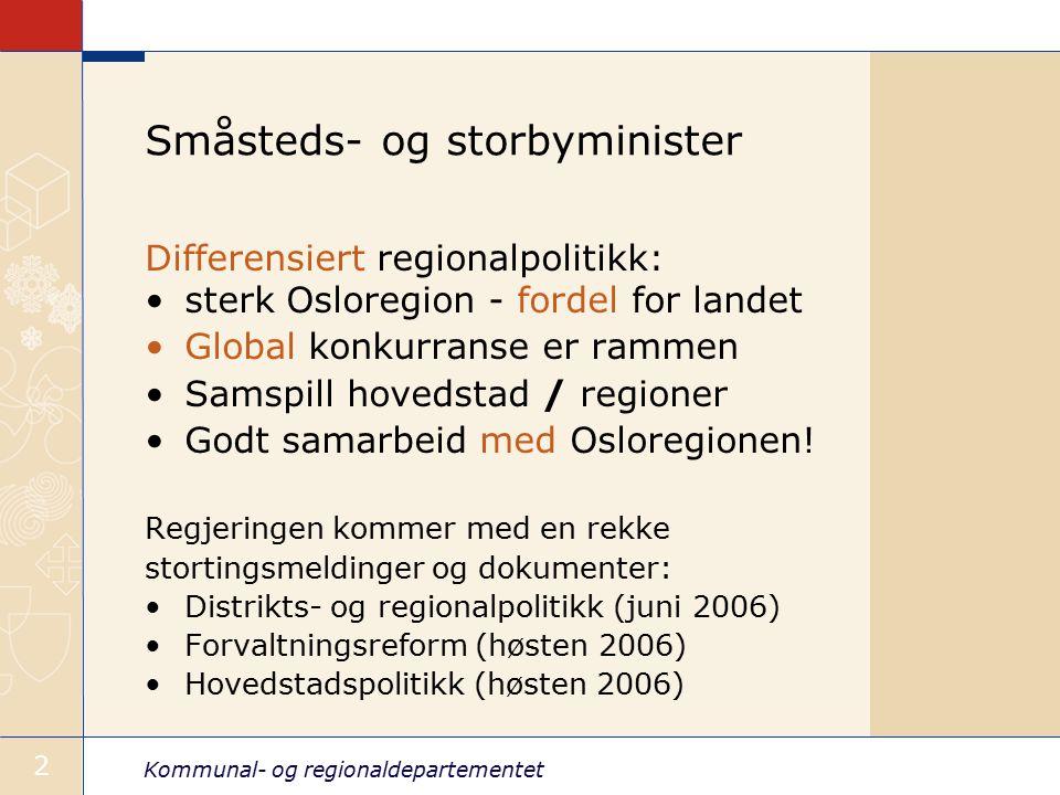 Kommunal- og regionaldepartementet 2 Småsteds- og storbyminister Differensiert regionalpolitikk: sterk Osloregion - fordel for landet Global konkurranse er rammen Samspill hovedstad / regioner Godt samarbeid med Osloregionen.