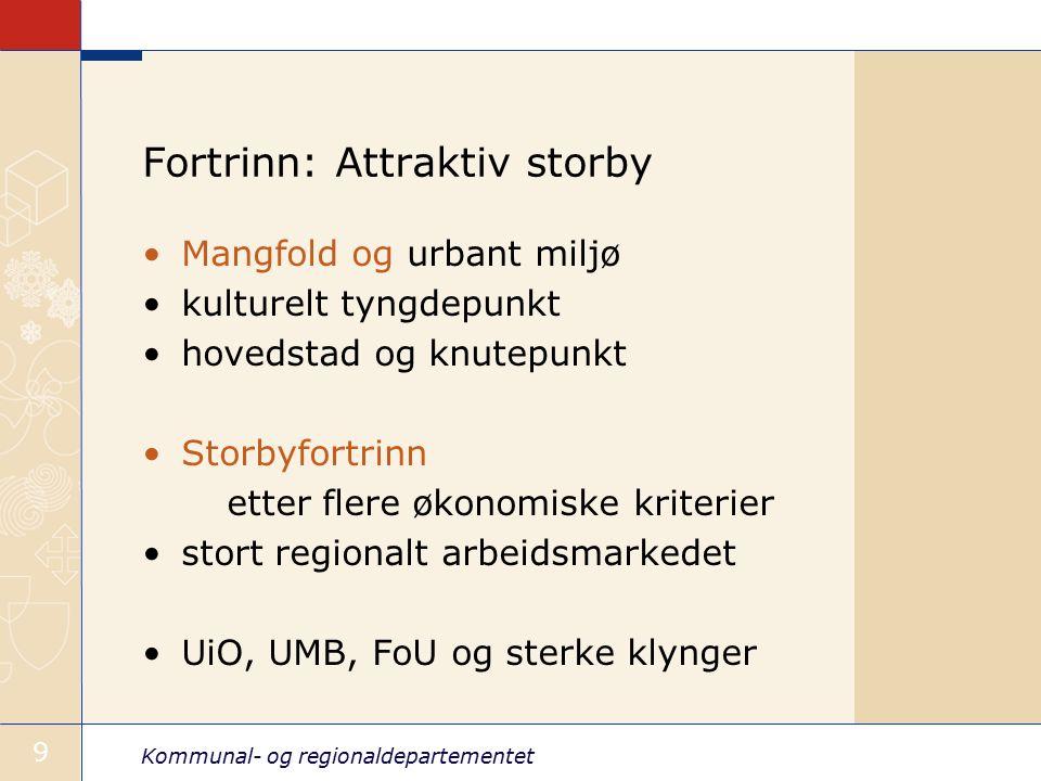 Kommunal- og regionaldepartementet 9 Fortrinn: Attraktiv storby Mangfold og urbant miljø kulturelt tyngdepunkt hovedstad og knutepunkt Storbyfortrinn