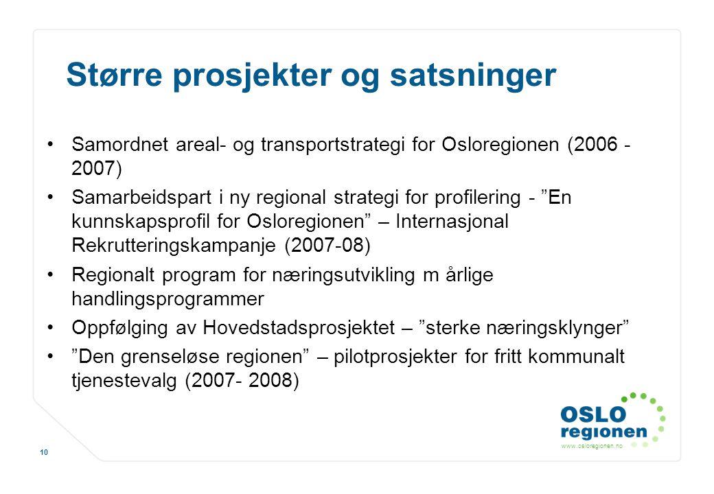 www.osloregionen.no 10 Større prosjekter og satsninger Samordnet areal- og transportstrategi for Osloregionen (2006 - 2007) Samarbeidspart i ny region