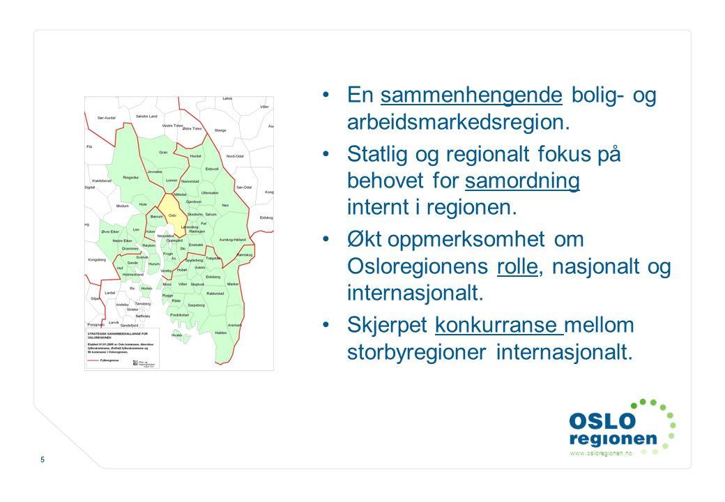 www.osloregionen.no 5 En sammenhengende bolig- og arbeidsmarkedsregion. Statlig og regionalt fokus på behovet for samordning internt i regionen. Økt o