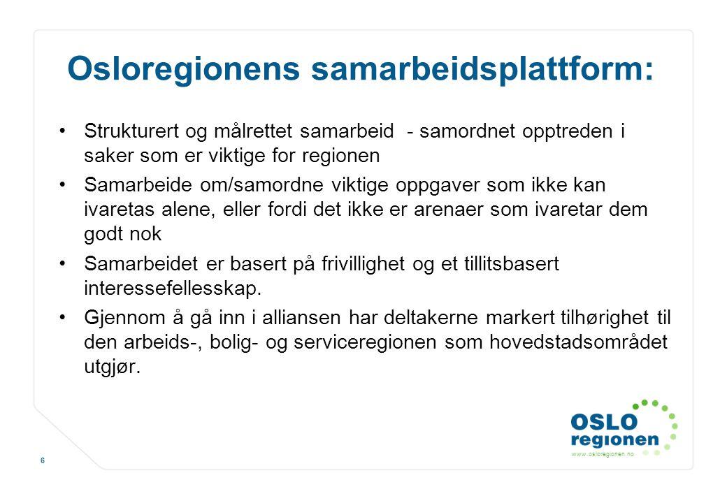 www.osloregionen.no 6 Osloregionens samarbeidsplattform: Strukturert og målrettet samarbeid - samordnet opptreden i saker som er viktige for regionen
