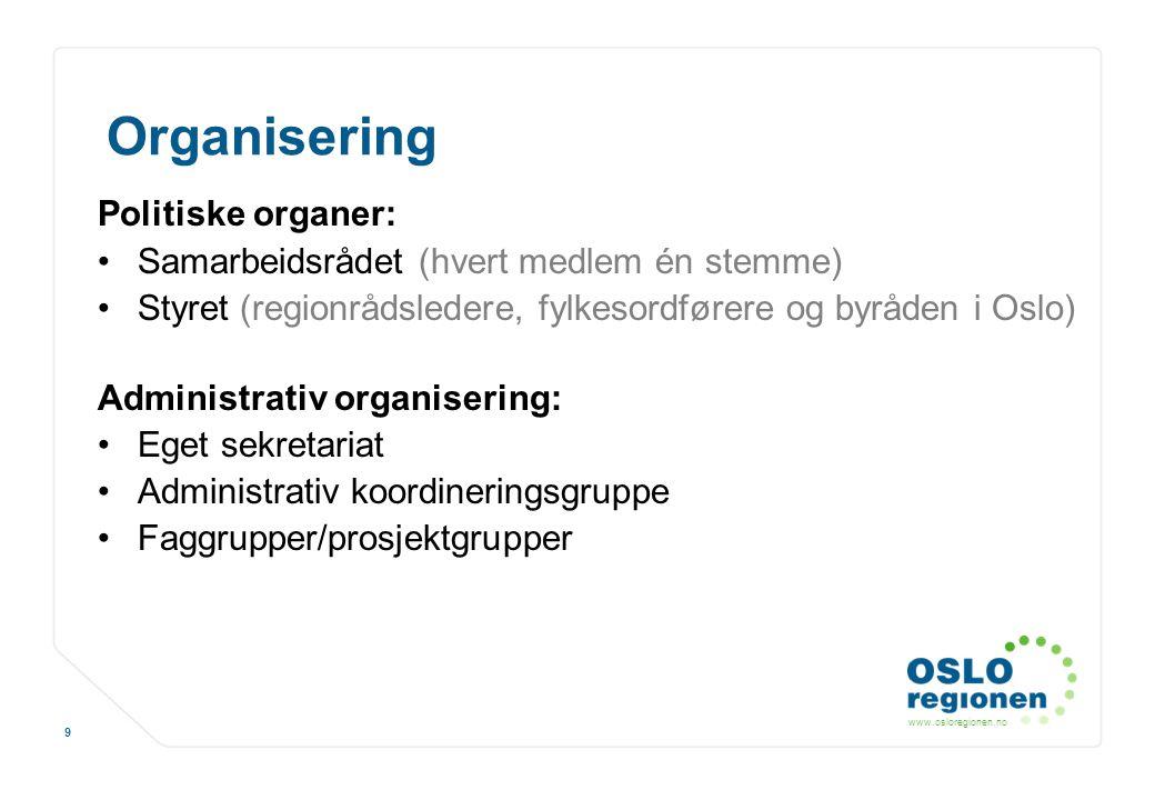 www.osloregionen.no 9 Organisering Politiske organer: Samarbeidsrådet (hvert medlem én stemme) Styret (regionrådsledere, fylkesordførere og byråden i