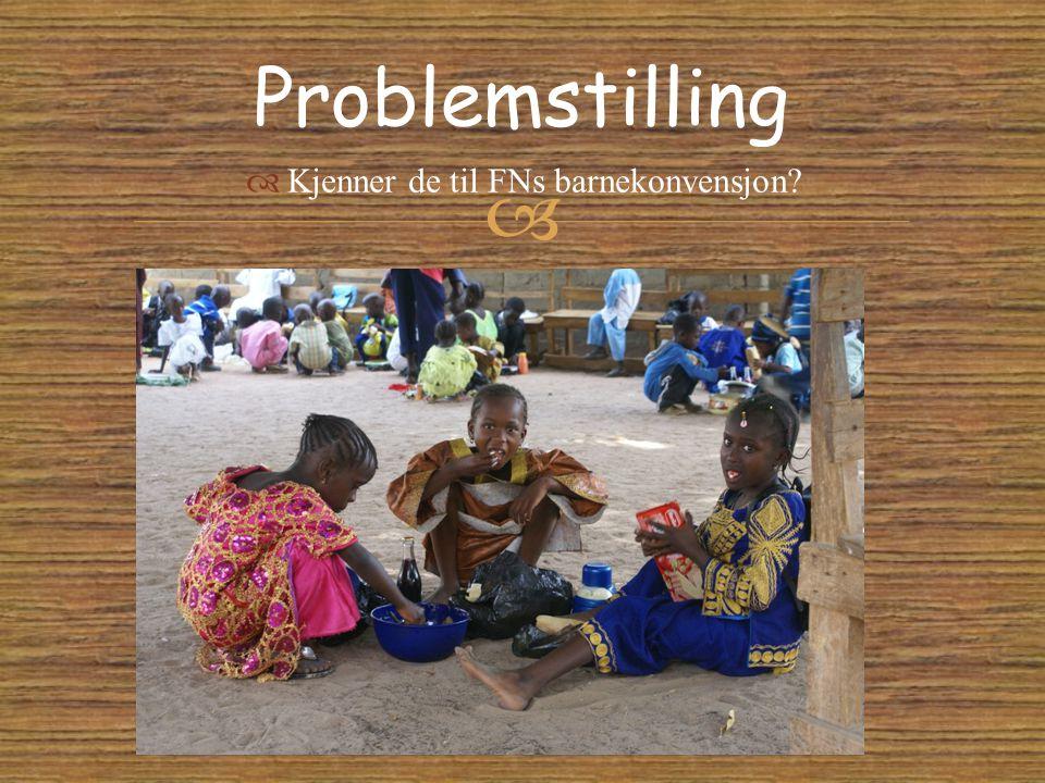   Kjenner de til FNs barnekonvensjon? Problemstilling