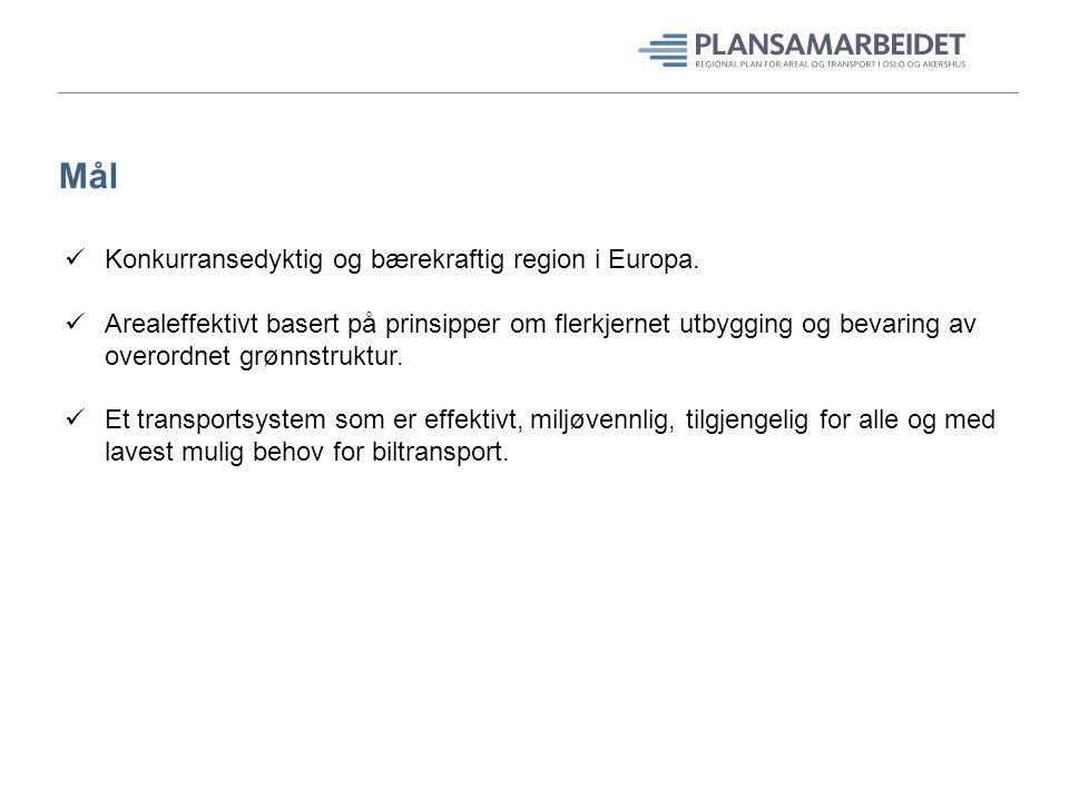 Mål Konkurransedyktig og bærekraftig region i Europa. Arealeffektivt basert på prinsipper om flerkjernet utbygging og bevaring av overordnet grønnstru