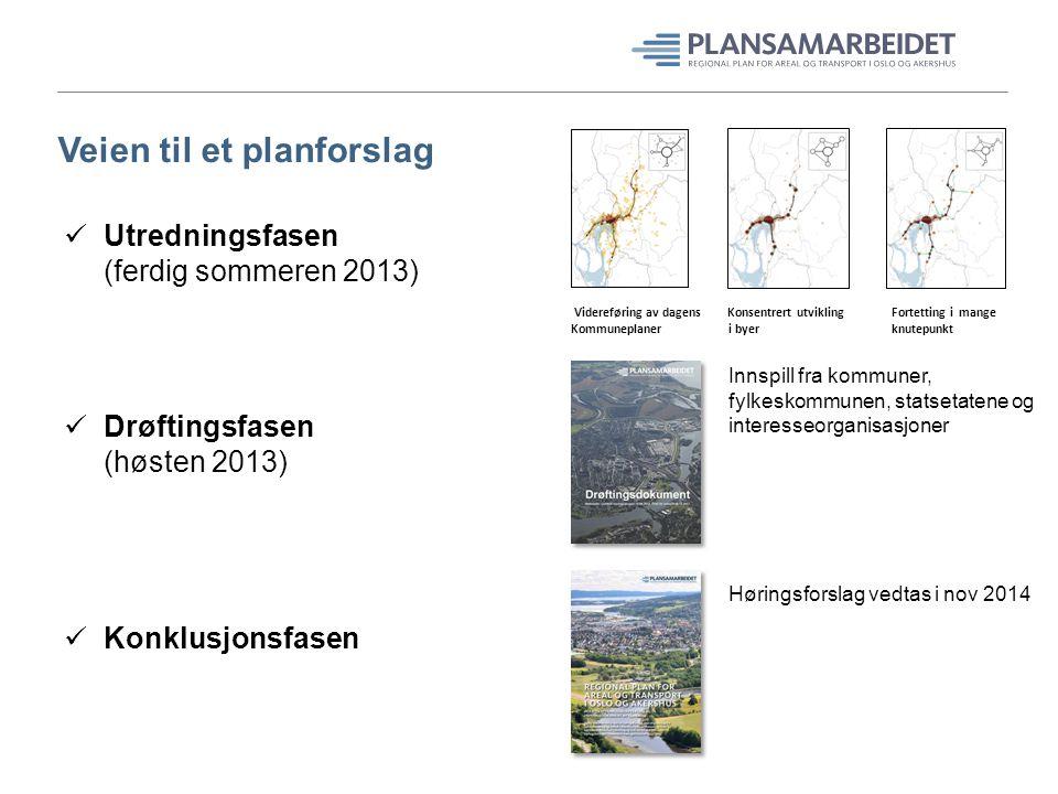 Veien til et planforslag Utredningsfasen (ferdig sommeren 2013) Drøftingsfasen (høsten 2013) Konklusjonsfasen Videreføring av dagens Konsentrert utvik
