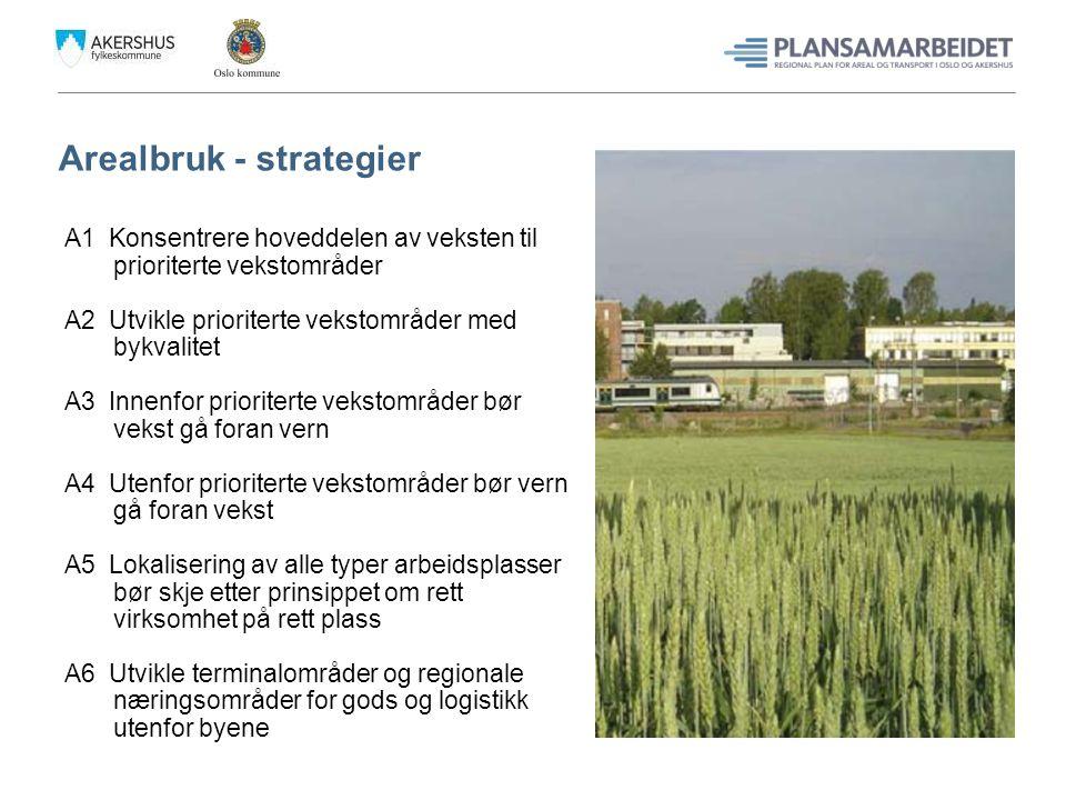 Arealbruk - strategier A1 Konsentrere hoveddelen av veksten til prioriterte vekstområder A2 Utvikle prioriterte vekstområder med bykvalitet A3 Innenfo